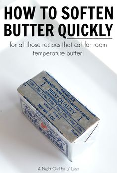 How to soften butter quickly - for all those recipes that call for room temp butter!!