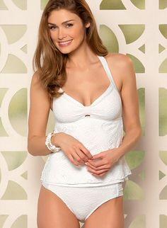 Handkerchief-style crochet tankini top. Low-rise white scoop bottom in crochet by BECCA by Rebecca Virtue Swimwear, $142.00