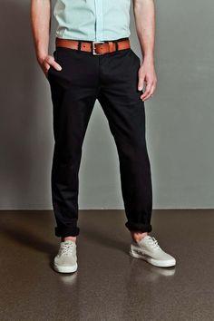 Twill navy pants