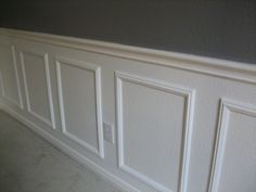 Why didn't I think of that?!?! Easy wainscotting idea: buy frames from Michael's, glue to wall and paint over entire lower half. Got this tip from a savvy home improvement person. Ha! That's stupid easy. Buy Frame, Grey Walls, Lower Half, A Frame, Wainscot Idea, Master Baths, Picture Frames, Painted Wainscoting Ideas, Home Improvements