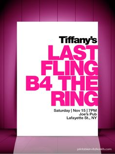 Last Fling Before the Ring – Bridal Shower Invitation