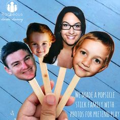 Popsicle stick family with photos for imaginative play