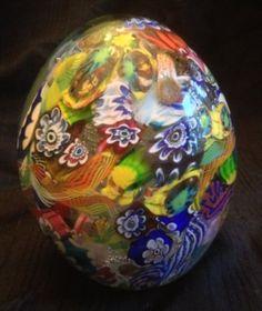 HUGE Murano Millefiori Egg shaped Paperweight Venetian Glass Gold Cobalt Ribbons