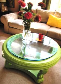 Painting vintage furniture pieces in bright, unexpected colors.