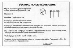 Decimal Squares Workshop Place Value - Equality