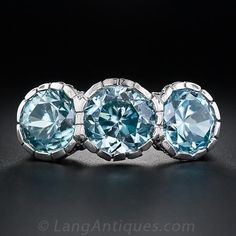 Large Blue Zircon Platinum and Diamond Ring, circa 1920s-1930s