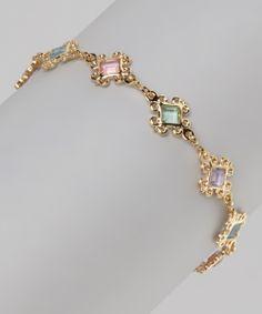 Pink & Green Crystal & Gold Filigree Bracelet
