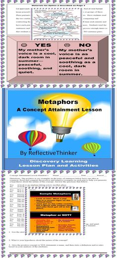 In-depth Discovery Learning Lesson Plans on Metaphors, 3 Printable Handouts concerning discovery learning /inductive thinking/Metaphors, 9 Framed Examples/Non-Examples of Concept, 2 Songs with Metaphors, 4 Colorful Teaching Slides, Activity options that appeal to varied learning styles Preview  Available.