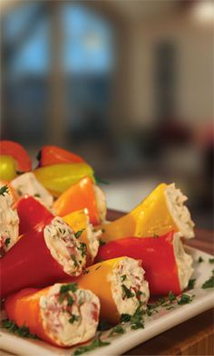 Pero Family Farms®  Stuffed Mini Sweet Peppers--Take appetizers to a new level with this recipe--a creamy filling with a sweet crunch.
