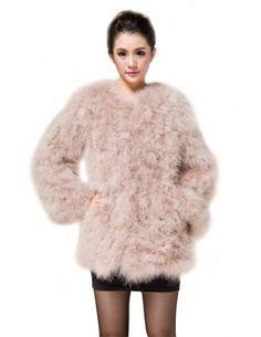 Kattee Women's Real Ostrich Fur Warm Winter Solid Coat