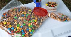 Best Camping Recipes : Easy Camping Trail Mix. A large batch can feed an army! Or, smaller portions can be prepared to suite your needs. You'll go nuts for this recipe!