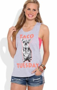 Deb Shops Tank Top with Twist Back and Taco Tuesday Screen $11.20