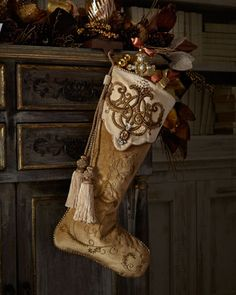 Arabesque Christmas Stocking by Jay Strongwater at Neiman Marcus.