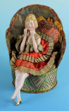 SUPERB !! ART NOUVEAU GERMAN FLAPPER HALF DOLL SITTING IN CHAIR W/ COMPACT BOX | eBay