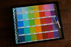 dry-erase paint chip calendar | The Baking Fairy