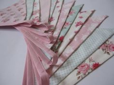 Shabby Chic Bunting  TILDA fabric in pink and aqua   Made by Tone Finnanger