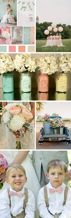 Colors. Painted mason jars.