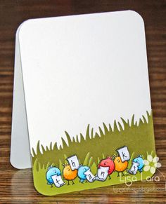 These little birdies tweet a sweet message of thanks on this handmade thank you card.  Pop up die cuts of the grass to give it lifelike dimension.