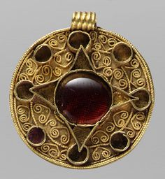 Disk Brooch, early 600s  Anglo-Saxon; Probably made in Faversham, southeastern England; Found at Teynam, southeastern England  Gold, cells inset with garnets and glass, border inlaid with niello