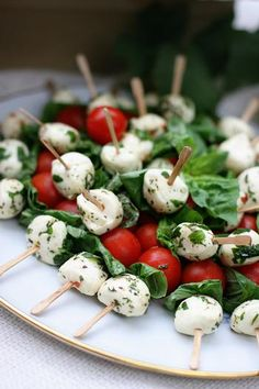 mozzarella, tomato, and basil skewers....yum