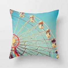 Pillow cover, carnival, turquoise pillow, navy pillow, kids pillow, nursery art, nursery decor, ferris wheel, blue pillow, red pillow, baby