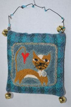 Punch Needle Kitty Wool Pillow Ornament - Blue