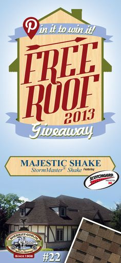 Re-pin this gorgeous StormMaster Shake Majestic Shingle for your chance to win in the Sherriff-Goslin Pin It To Win It FREE ROOF Giveaway. Available in Sherriff-Goslin service area only. Re-pin weekly for more chances to win! | Stay Updated! Click the following link to receive contest updates. http://www.sherriffgoslin.com/repin Learn More about this shingle here: http://www.sherriffgoslin.com/tabbed.php?section_url=142