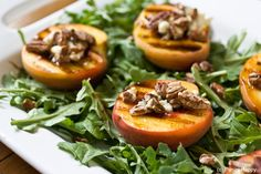 Grilled Peach Salad with Toasted Pecans, Blue Cheese and Honey Balsamic Syrup ...get the recipe on www.paninihappy.com