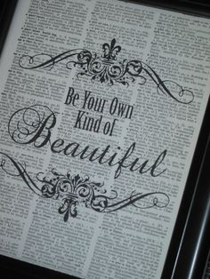 Dictionary Art Book Page Print Be Your Own by HamiltonHousePrints, $8.00