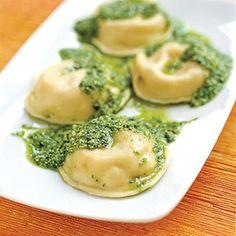 Ravioli with Spinach Pesto
