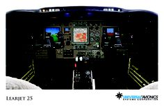 """Universal Avionics: Learjet 25 - (1) Display Suite: 3 EFI-890R 8.9"""" Flat Panel Displays; (2) Situational Awareness: 1 Vision-1 Synthetic Vision System, 1 Terrain Awareness and Warning System (TAWS), 1 Application Server Unit (ASU) for Jeppesen charts, checklists, weather and E-DOCS; (3) Flight Management: 1 UNS-1L FMS with 4"""" CDU; (4) Radio Tuning and Communications: 1 Radio Control Unit (RCU)"""