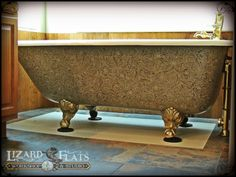 Paint Your Tub! Carved leather design hand painted on old claw foot tub by www.lizardflats.com