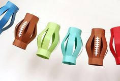 Paper Lantern made of football shapes... + other paper football / Superbowl creations to DIY