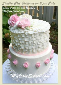Shabby Chic Buttercream Roses Cake!  Online Video Tutorial by MyCakeSchool.com