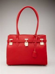 Splash of red with the Zenith Belted Lock Tote $149.99