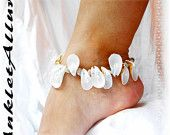 Beach Gypsy Island Frill Shell Anklet Blue Natural Curl Blue White Ankle Bracelet