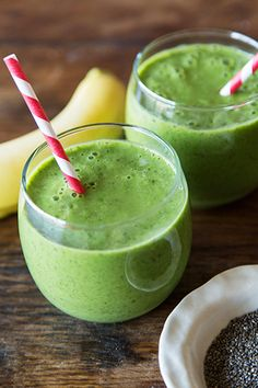 Banana, Chia, and Spinach Smoothie  Serves: 1   1 cup unsweetened almond milk  1/2 cup frozen mango  1 ripe banana  1 handful fresh spinach  1 tsp chia seeds
