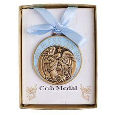 Crib Medal - Blue (Engravable) | The Catholic Company