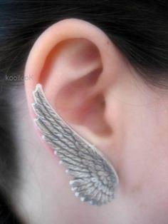 Angel Wing Earrings Silver Ox by KoollooK on Etsy, $24.00