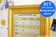 DIY dry erase homework chart from blog.thecelebrationshoppe.com #backtoschool #crafts
