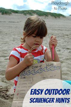 Easy Outdoor Scavenger Hunts for Kids. Simple, fun activities for summer.