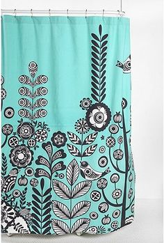 Awesome shower curtain to go with my planned turquoise bathroom.