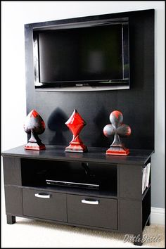 How to hide the TV wires and create a TV stand tutorial.