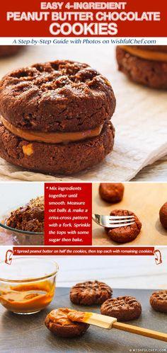 Easy 4 Ingredient Peanut Butter Chocolate Cookies // wishfulchef.com