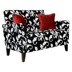 LOVE this love seat - especially with the red accent pillows ♥