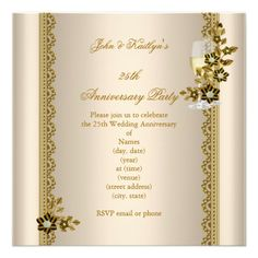25th Anniversary Party Gold Black Cream Floral