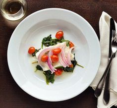 Easy Dinner #Recipe: Baked Fish, Spinach, and Tomatoes in Foil Packets