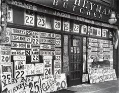 Jacob Heymann's butcher shop. 345 Sixth Avenue, New York City, circa 1938. Photograph by Berenice Abbott