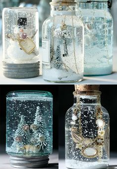 DIY snow globes: use for table numbers, or a display (on a fireplace mantle), or something...could wrap fabric (plaid) around bottom lid.