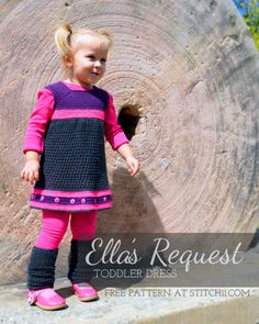 Ella's Request -Toddler Dress-free pattern. Legwarmer pattern availiable too.